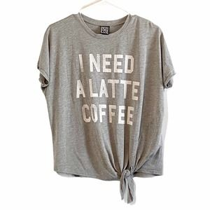 Latte Coffee T-shirt Graphic knot gray small